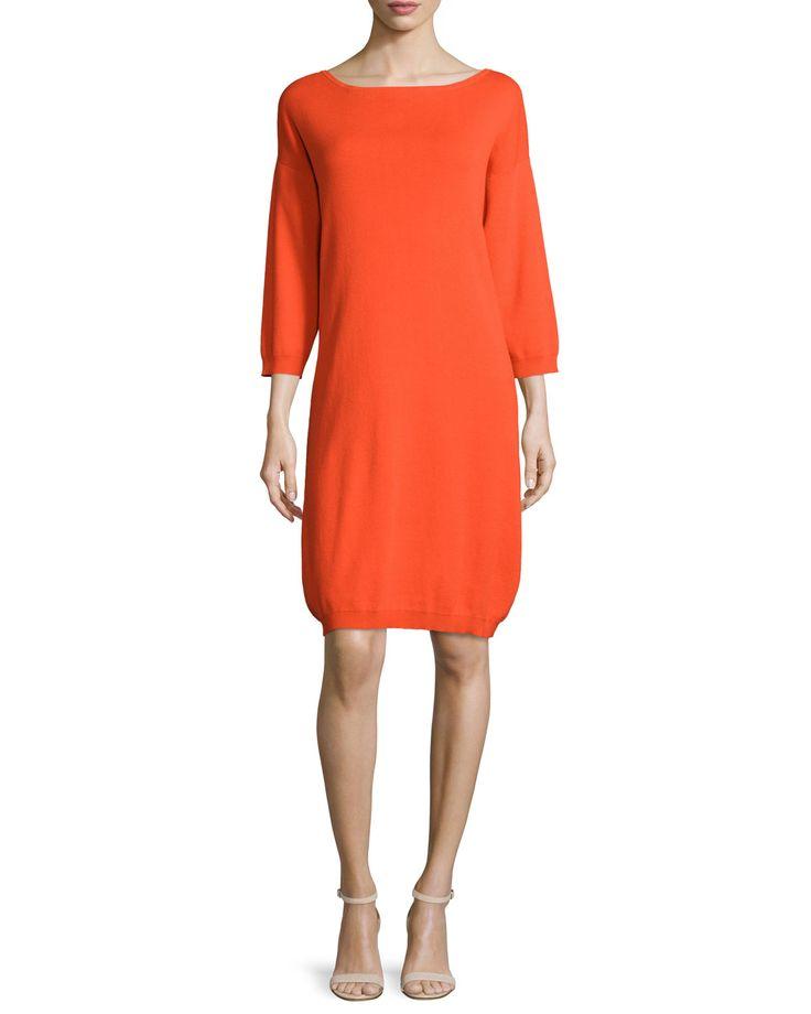 3/4-Sleeve Cotton Dress, Poppy Orange, Plus Size