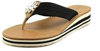 4eff354ffc9 Tommy Hilfiger Rayce Women Open Toe Canvas Black Wedge Sandal. tommy  hilfeger flip flops for womens