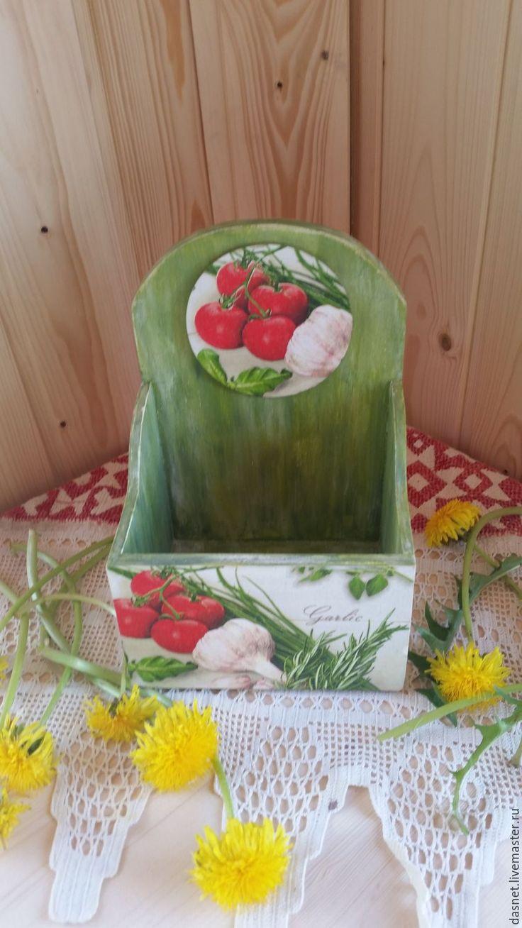 """Купить Подставка для специй""""Зелень"""" - зеленый, Декупаж, Декор, короб для хранения, короб, короб для кухни"""