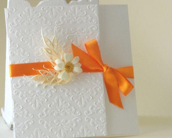 White and orange invitation/ Wedding invitation/ di mirelaemilia