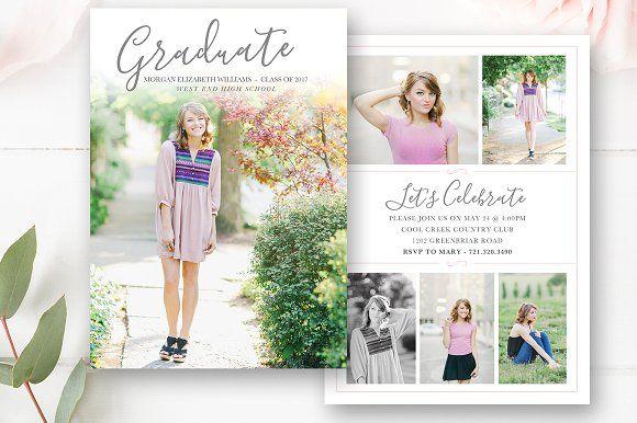 Senior Graduation Announcement  by By Stephanie Design on @creativemarket
