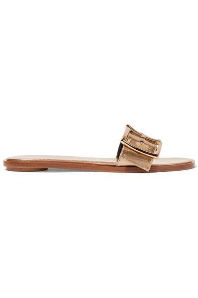 Tibi - Frida Metallic Leather Slides - Gold - IT