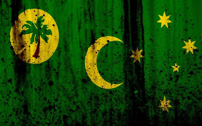 Download wallpapers Cocos Islands flag, 4k, grunge, flag of Cocos Islands, Asia, Cocos Islands, national symbols, Cocos Islands national flag, Keeling Islands