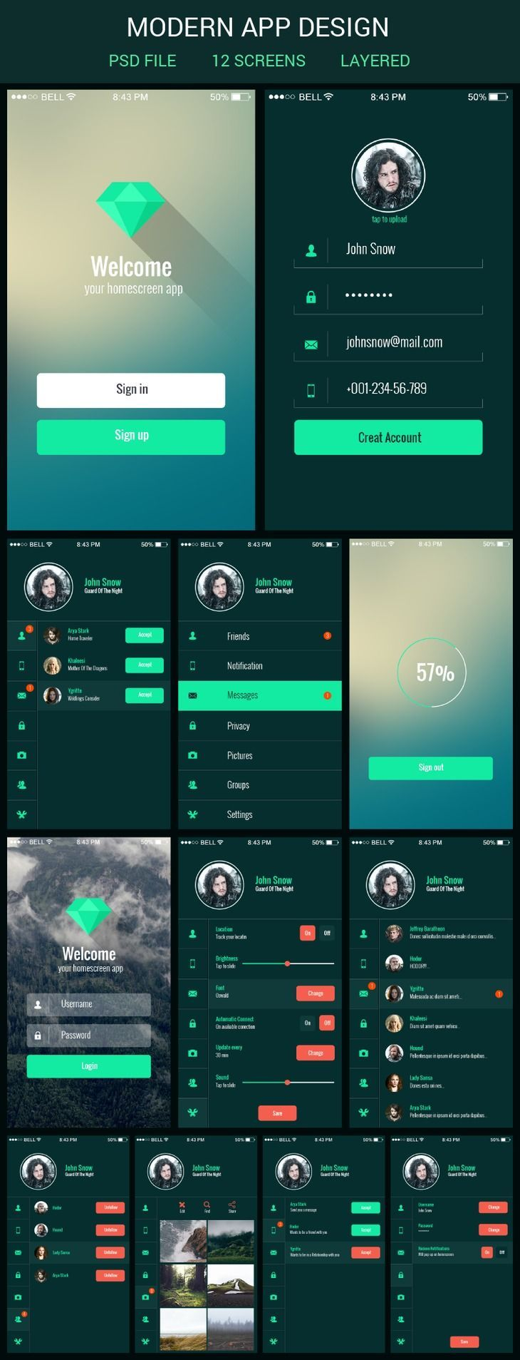 Mobile app ui kit - graphberry.com:
