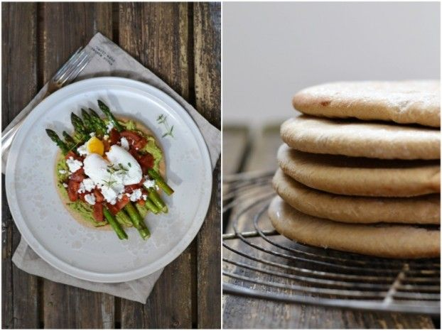 Poached egg on toast and roasted asparagus