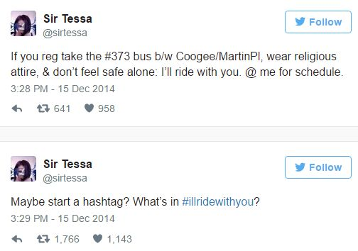 @SirTessa's creation of the hashtag #illridewithyou after hearing Jacobs' story.