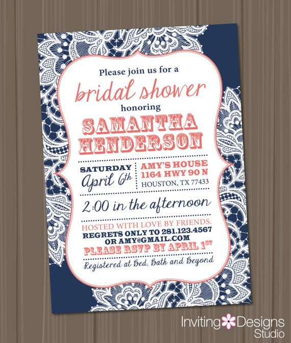 Bridal Shower Invitation, Lace, Coral, Navy Blue, Rustic, Chic