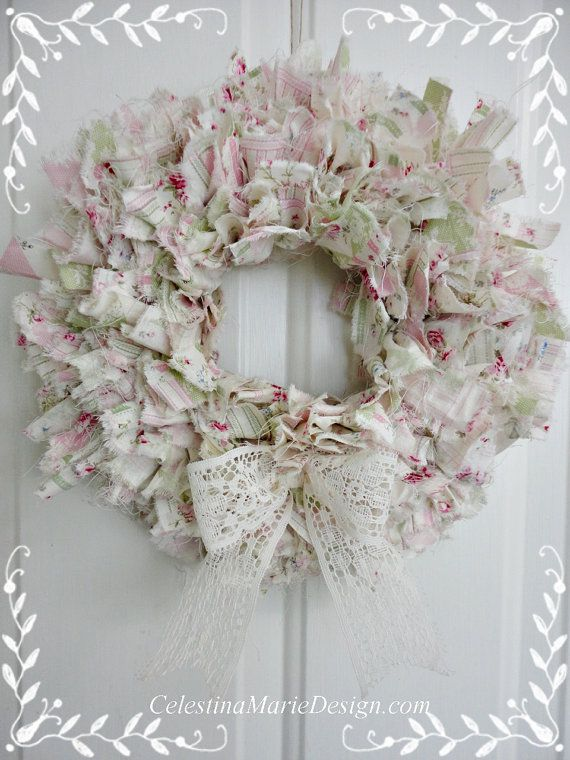 Shabby Rag Wreath, Hand Created, 11 inch Round, Wall Art, Shabby Accent, Home Decor, Cottage, Little Girls Room, ECS, CSSTeam