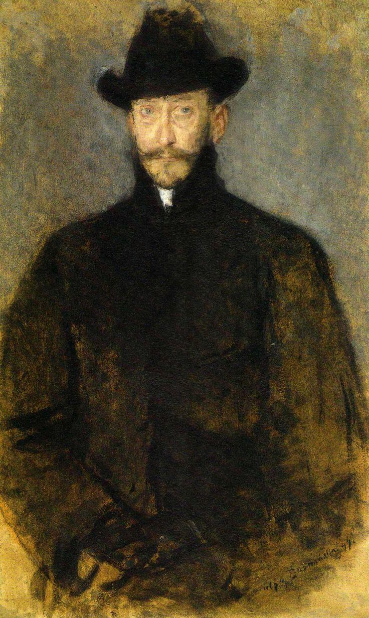 "Olga Boznanska ""Portrait of the Painter Antoni Kamienski"", 1899, oil on cardboard, 95 x 49.5 cm, National Museum, Warsaw"