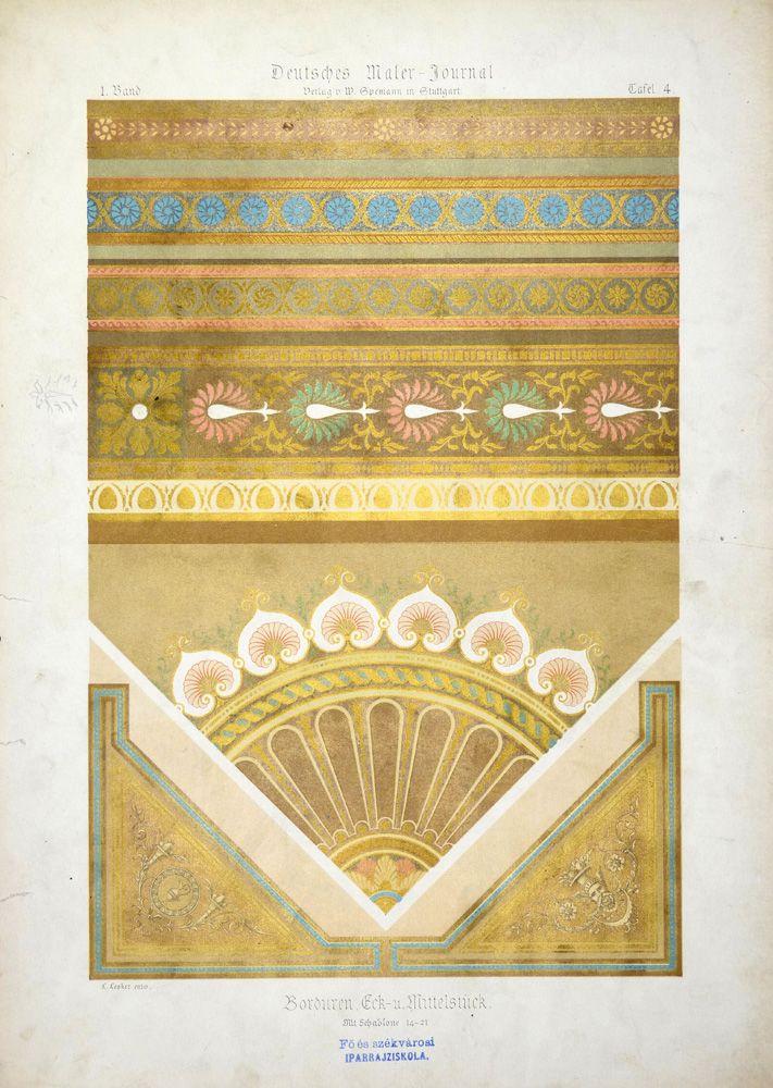 Lesker, L. Borduren, Eck-u. Mittelstück [1877-1894] 1. Band, Tafel 4. Deutsches Maler-Journal : Plafonds, Vestibule, Treppenhauser, Wanddecorationen, Sgraffiten, Holz- und Marmor-Malerei, Blumen, Alphabete, Schilder, Embleme, Plakate etc. Stuttgart : W. Spemann, [1877-1894] Schola Graphidis Art Collection, Hungarian University of Fine Arts - High School of Visual Arts, Budapest This item is under the following Creative Commons license: CC BY-NC-ND 4.0