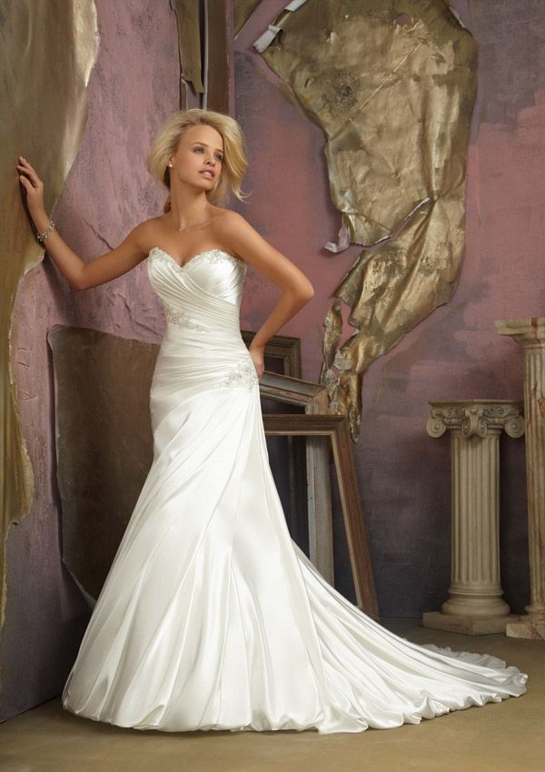 Fabulous Style Jeweled Appliques on Soft Satin A Line Dresses Wedding Dresses Wedding u Events