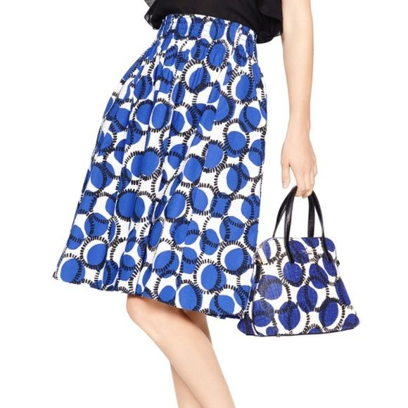 kate spade new york stamped dots blaire skirt Lapis-blue polka dots and rings of printed fringe stamp a full, playful skirt styled with a comfy smocked waist and all-important hidden pockets. 98% cotton and 2% elastase. Brand new and price is firm. trades. kate spade Skirts