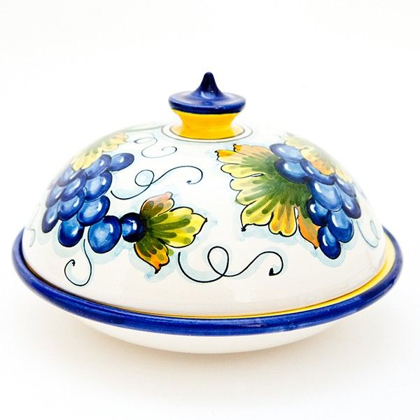Large Round Ceramic Butter Dish Hand Painted With Grape On A White  Background. Click On