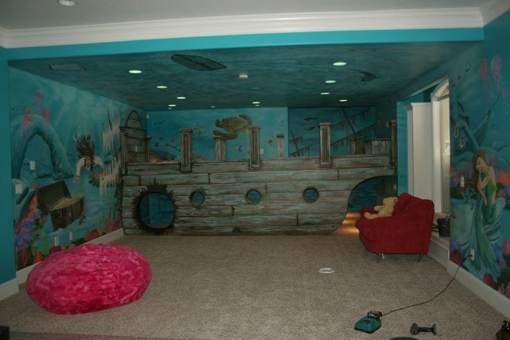 Artistic Murals Sunken Ship Pirate Underwater Mural