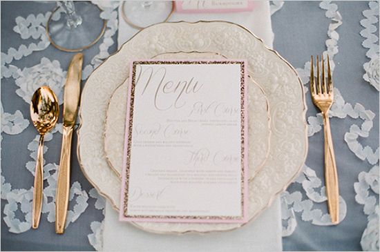 gold and pink table settings