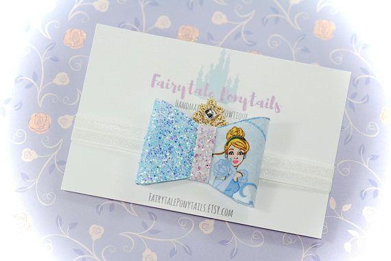 Cinderella Bow Headband Glitter Adjustable