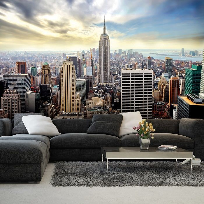 Giant Size Wallpaper Mural For Bedroom And Living Rooms New York Blue Skyline Wall Ideas Express Worldwide Shipping