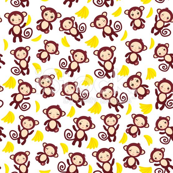 seamless pattern funny brown monkey, yellow bananas, boys and girls royalty-free stock vector art
