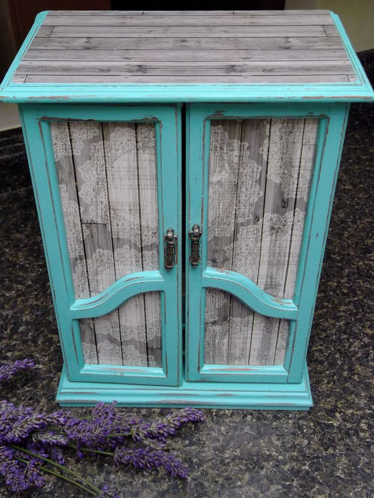 Shabby Chic French Armoire Dresser Jewelry Box Farmhouse