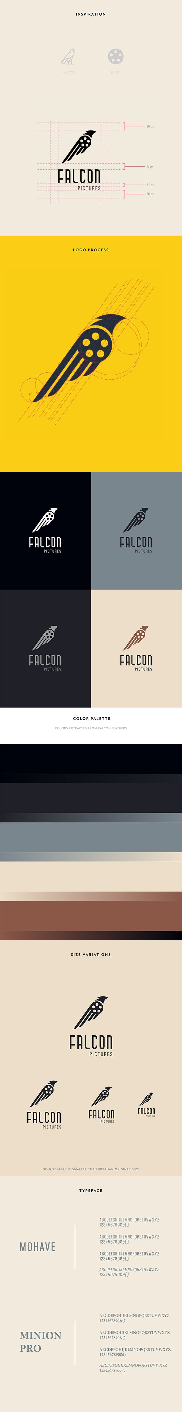 Falcon Pictures Logo Design by Grunz Saint, via Behance.