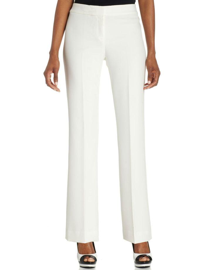 Anne Klein White Petite Stretch Dress Pants