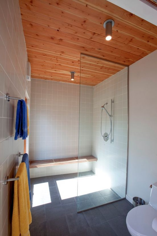 Cape Cod Modern House Addition, Wellfleet   Midcentury   Bathroom   Boston    Hammer Architects  Use Of Square/ Vintage Tile With Wood Ceiling
