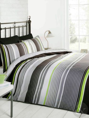 MULTI STRIPED BEDDING - Cotton Rich Quilt Cover Contemporary Duvet Cover Bed Set | eBay