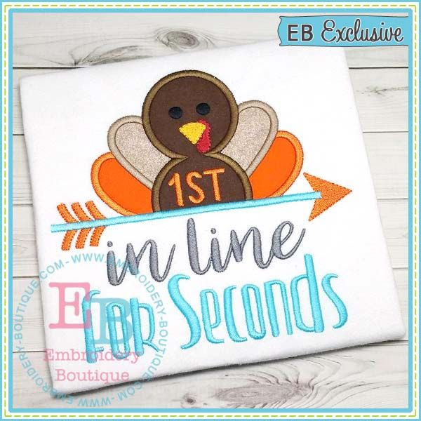 Seconds Embroidery Design. First thanksgiving. Funny thanksgiving sayings. DIY crafts for thanksgiving. Baby thanksgiving gift ideas. Make your own tshirt or bodysuit.