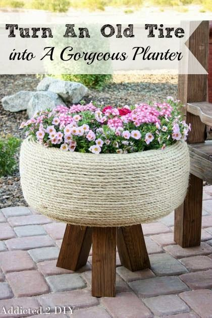 Turn An Old Tire Into A Gorgeous Planter I'm going to do this at my moms