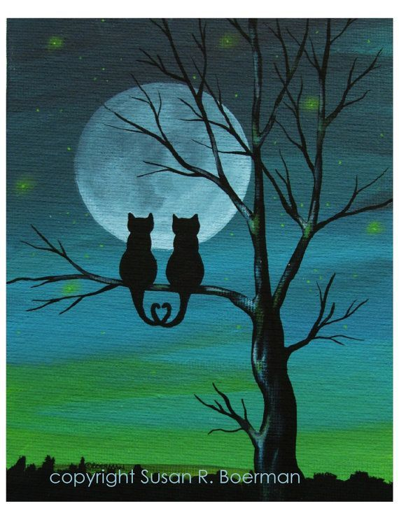 Cat Lover Silhouette – 8×10 Print Silhouetted cats sitting on tree under full moon (can be personalized) – tip