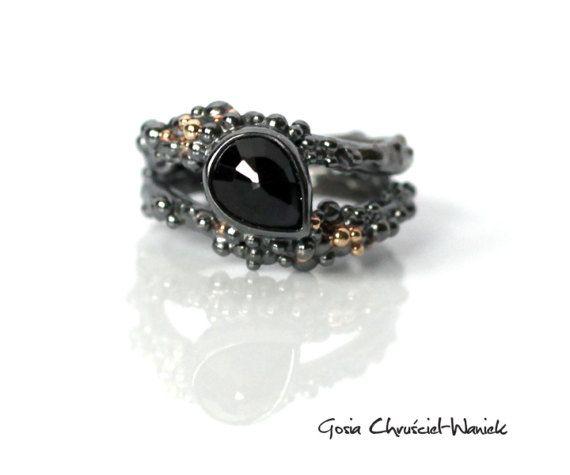 Silver & Gold Sapphire Ring #organic #granulation #gold #silver #sapphire #bubblering