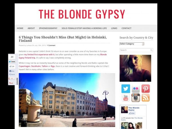 The Blonde Gypsy was attending on Culinary Quarters tour. That and other hints what to do in Helsinki.