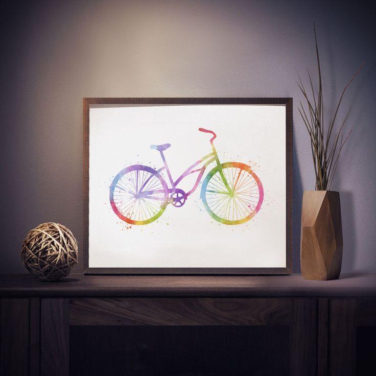 Bike Print - Bicycle Print - Watercolor Bike - Bicycle Art - Bike Watercolor Art - Nursery Decor - Colorful Wall Art - Watercolor Prints by ModPopDeco on Etsy https://www.etsy.com/listing/271756026/bike-print-bicycle-print-watercolor-bike