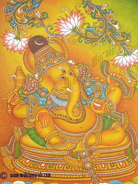 1176 best temple mural images on pinterest kerala mural for Mural art of ganesha