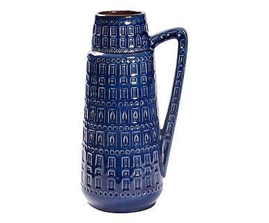 Vaso W Germany in ceramica con rilievi blu anni '60, d 25/h 45 cm