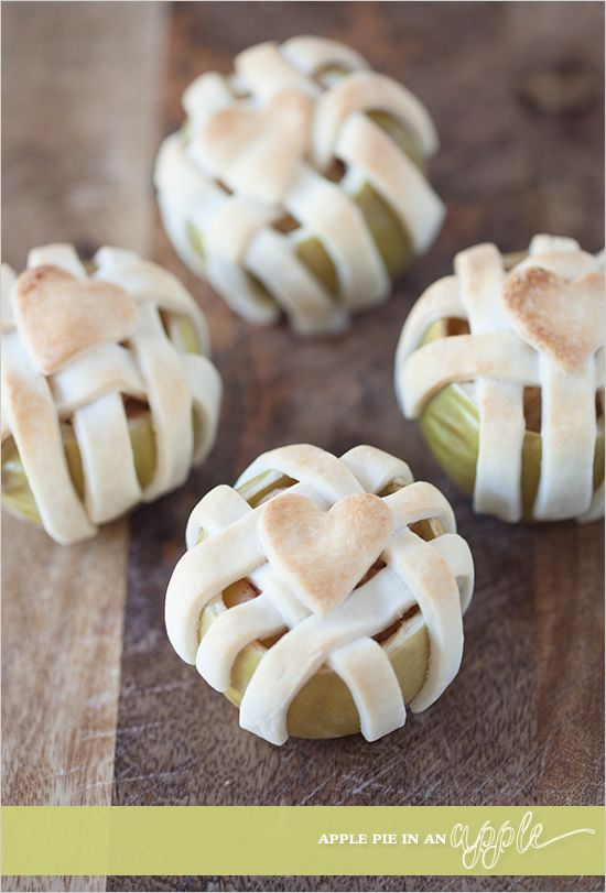 Bake a pie in an apple!  So easy and guests will be wowed by your gourmet skills.  #foodstyling #dessert  #holiday http://www.weddingchicks.com/2013/10/29/easy-holiday-recipe/