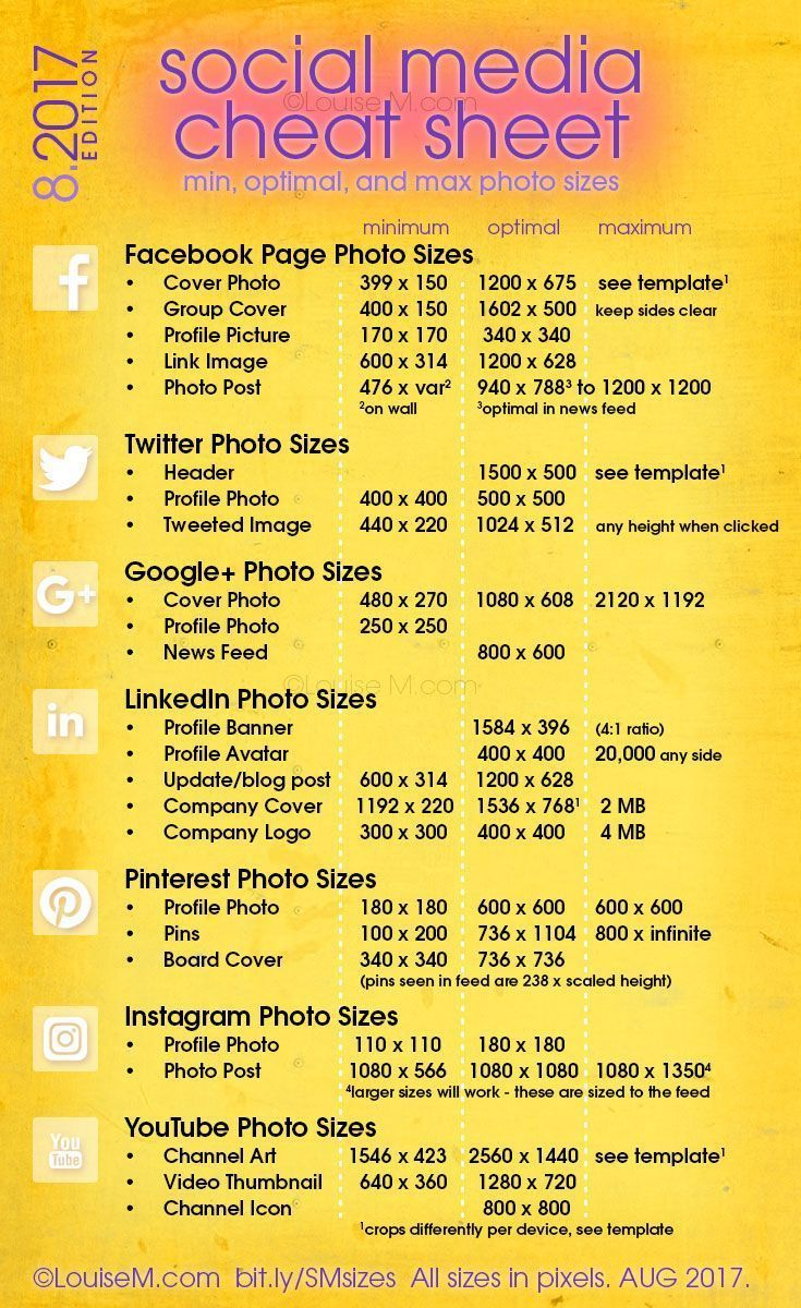Updated! Social Media cheat sheet with image sizes for Facebook, Twitter, Google+, LinkedIn, Pinterest, Instagram, YouTube. Click to blog for your free printable! And more social media marketing tips for your small business. #visualmarketing #smmtips