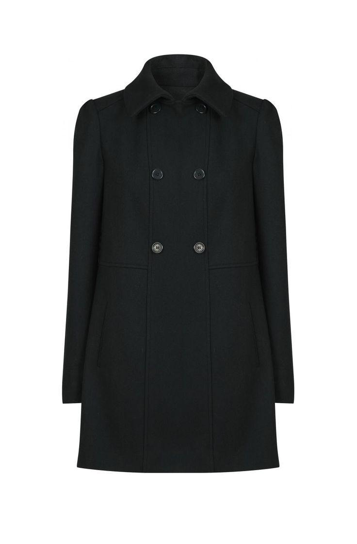 Manteau drap de laine épaules froncées thym - droits femme - naf naf 1