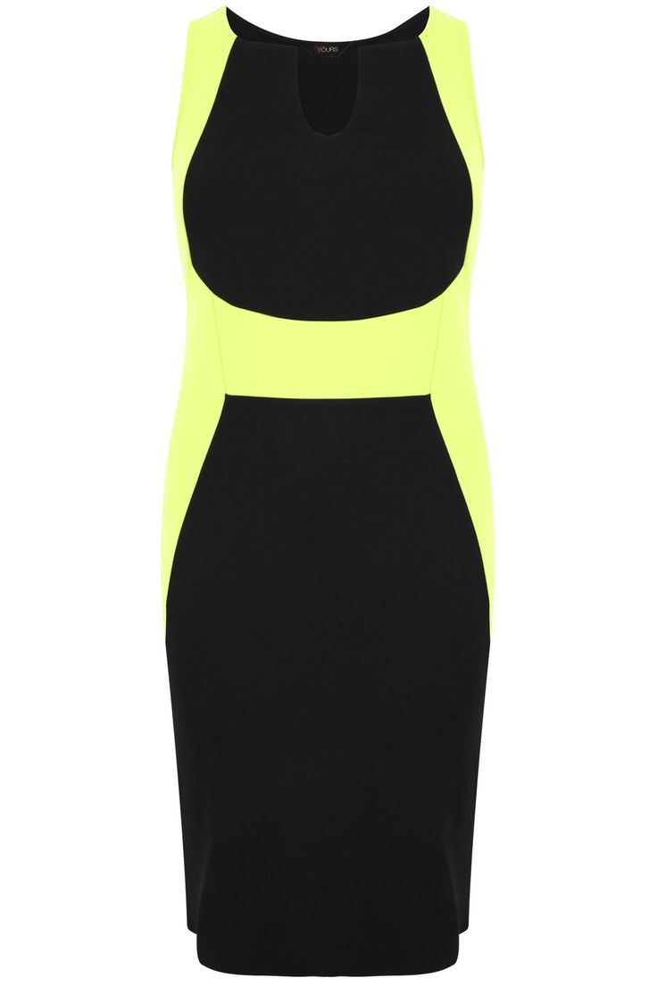 Black & Yellow Colour Block V Neck Bodycon Dress