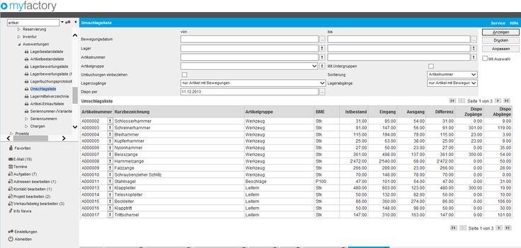 Die Umschlagsliste in myfactory V5.0 aus dem Modul SwissSolutions von myfactory Software Schweiz AG.