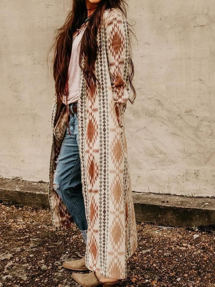 Women's Long Cardigan Duster Long Sleeve Beaded Trim POL Clothing