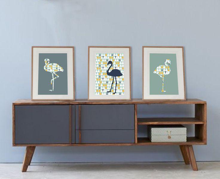 3 affiches de flamants roses dans style scandinave