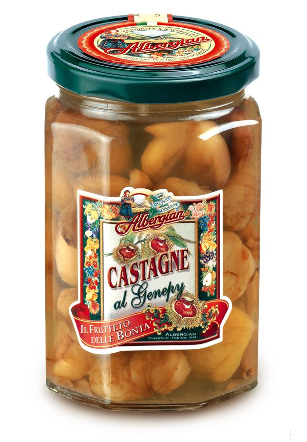 An Albergian original dessert: genepy chestnuts. The taste of italian food. http://www.albergian.it/shop/frutta-sciroppata/castagne-al-genepy/