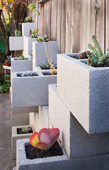 Parede de blocos de concreto Succulent