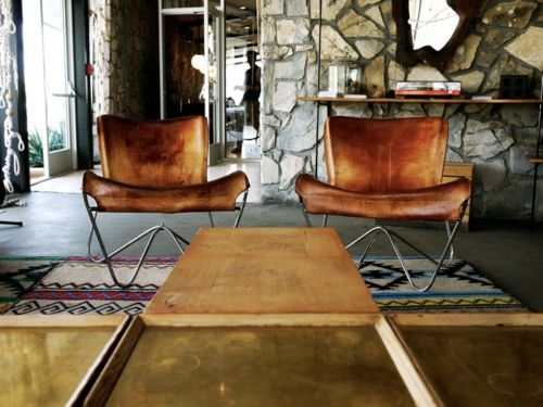 pull these into a cottage room with a tufted gingham sofa... any color. so many possibilities.Stones Wall, Ace Hotels, Living Room, Interiors Design, Palms Spring, Vintage Interiors, Offices Chairs, Folding Chairs, Leather Chairs