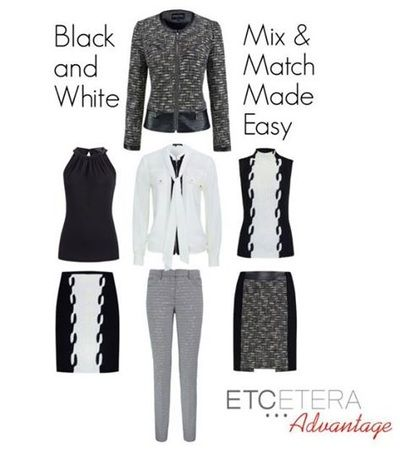 Another Etcetera Advantage... it all goes together!  Chess suit, Oreo skirt and top, Diplomat Blouse, and the Kat top.  See more at www.lowcountrystyles.com.  Holiday show is Sept. 25-Oct. 6th.