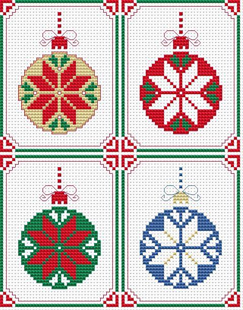 Set of 4 Christmas Cards free cross stitch pattern