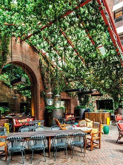 Elegant outdoor dining inspiration! Hudson Hotel NYC