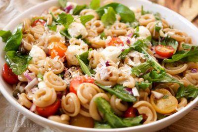 Ein einfaches Rezept für Sommer Nudelsalat mit Tomaten, Basilikum, Rucola, getrocknete Tomaten, Kapern und Parmaschinken mit Balsamico-Olivenöl-Dressing.