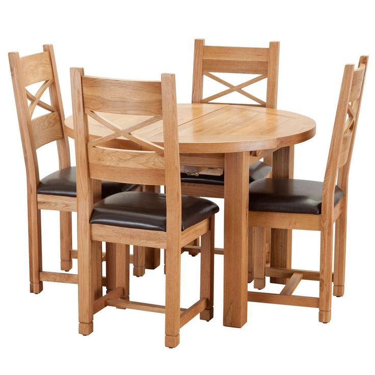 4 Seater Dining Set Round Table Oak Finish Faux Leather Chairs Wooden Furniture
